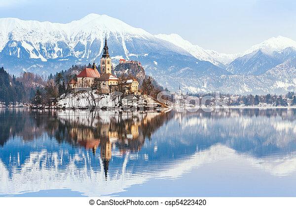 Winter Landscape Bled Lake Slovenia