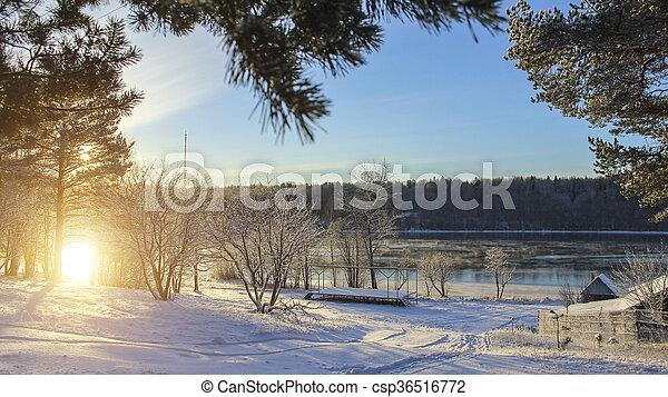 Winter landscape in Russian village - csp36516772