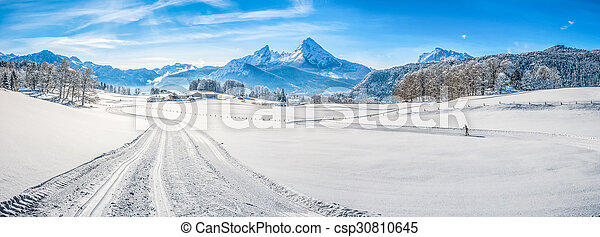 Winter landscape in the Bavarian Alps with Watzmann massif, Germany - csp30810645