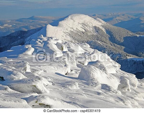 Winter landscape in the Carpathian mountains - csp45301419
