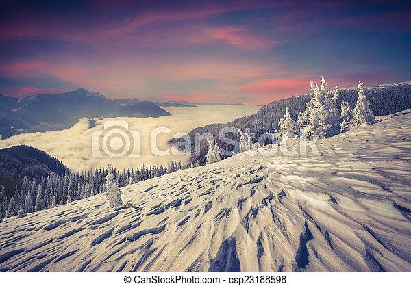 winter landscape in the Carpathian mountains - csp23188598
