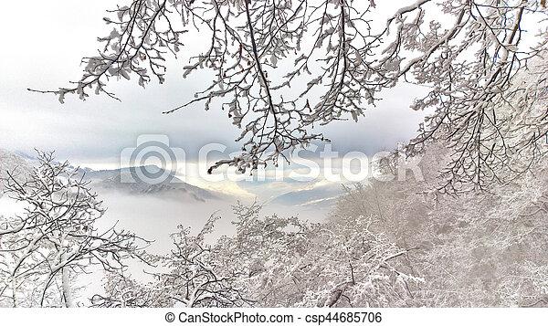 Winter landscape in the fairytale mountain - csp44685706