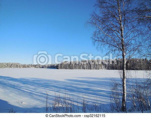 Winter landscape in the Karelia - csp32162115