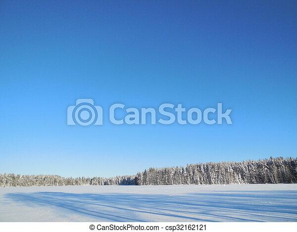 Winter landscape in the Karelia. - csp32162121