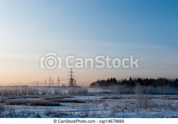 Winter landscape in the morning - csp14679669