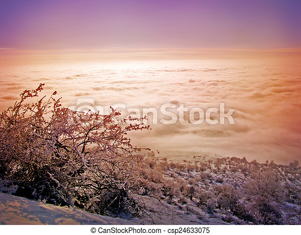 Winter landscape in the mountains - csp24633075