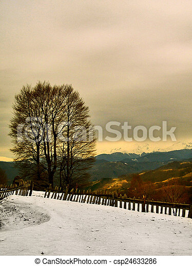 Winter landscape in the mountains - csp24633286