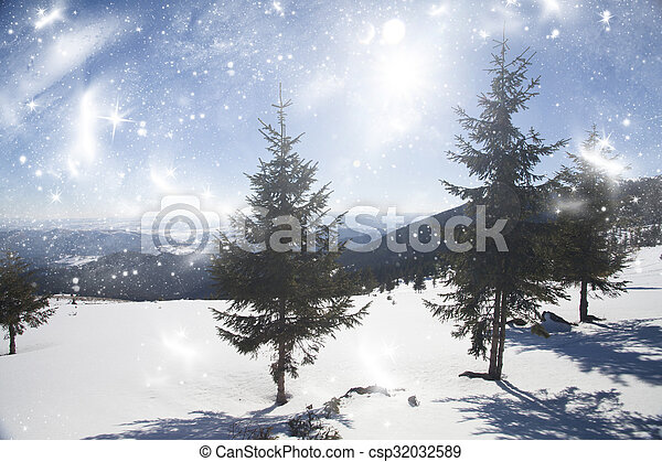 Winter landscape in the mountains - csp32032589