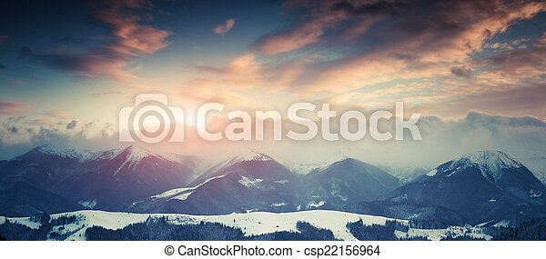 Winter landscape in the mountains. - csp22156964