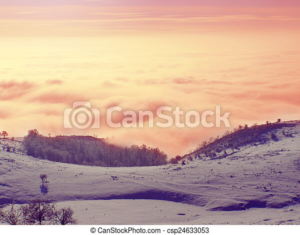 Winter landscape in the mountains - csp24633053