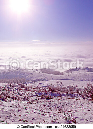 Winter landscape in the mountains - csp24633059