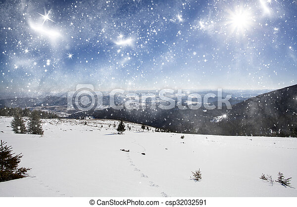 Winter landscape in the mountains - csp32032591