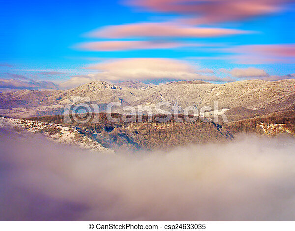 Winter landscape in the mountains - csp24633035