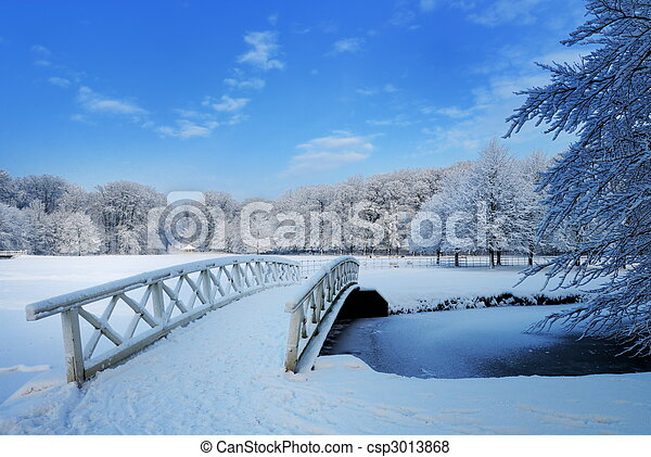 winter landscape in the Netherlands - csp3013868