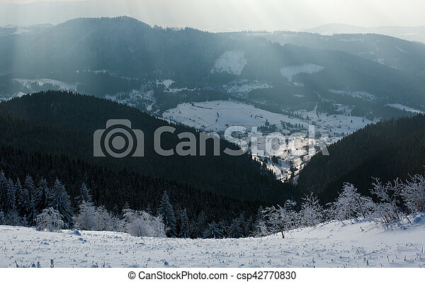 Winter landscape mountain pine forest in rays of the sun - csp42770830