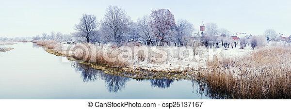 Winter landscape on Havel River (Germany) - csp25137167