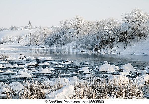 Winter landscape on the river - csp45505563