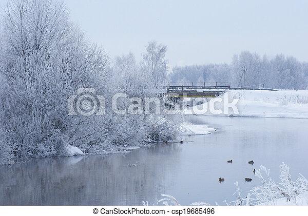 Winter landscape on the river. - csp19685496