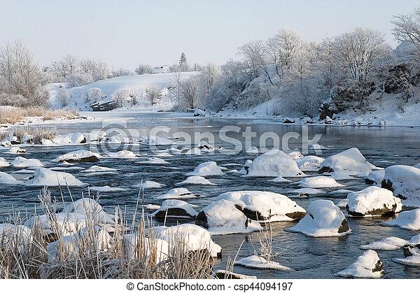 Winter landscape on the river - csp44094197