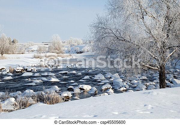 Winter landscape on the river - csp45505600