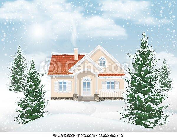 Winter landscape residential building - csp52993719