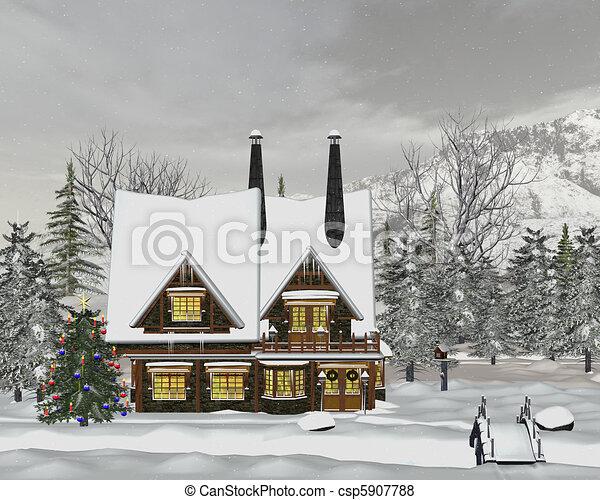 Winter landscape - csp5907788