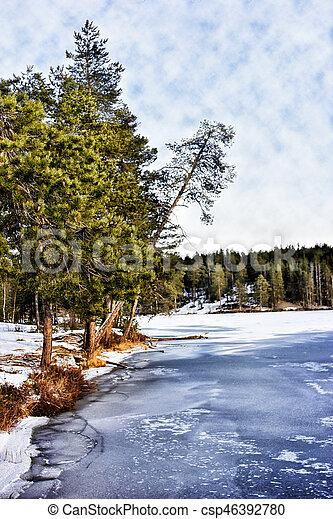 Winter landscape. The shore of Tukhka lake. Russia. Karelia - csp46392780