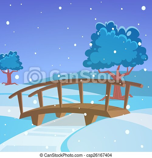 Winter landscape with bridge - csp26167404