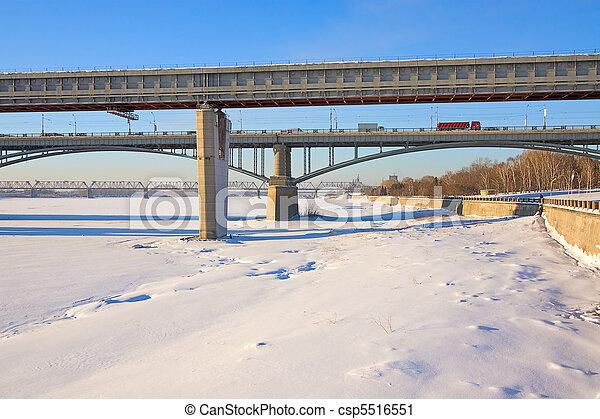 winter landscape with bridges - csp5516551