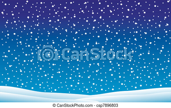 Winter landscape with falling snow - csp7896803