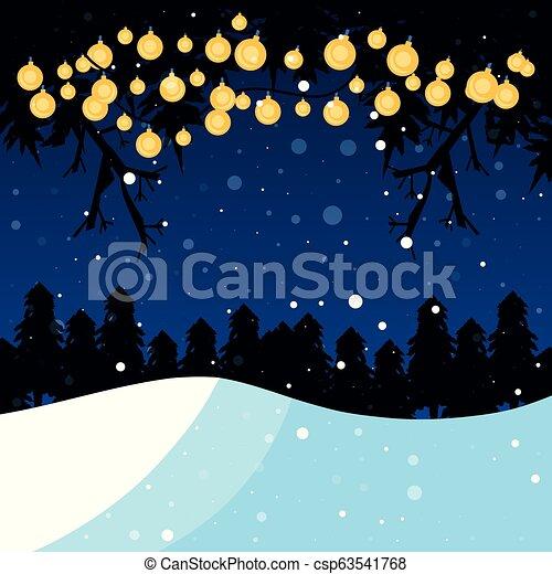 winter landscape with light bulbs scene christmas - csp63541768
