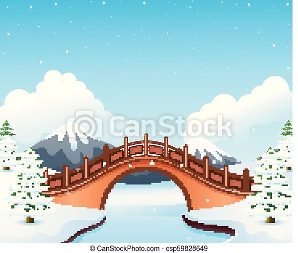 Winter landscape with mountain and small stone bridge over river - csp59828649