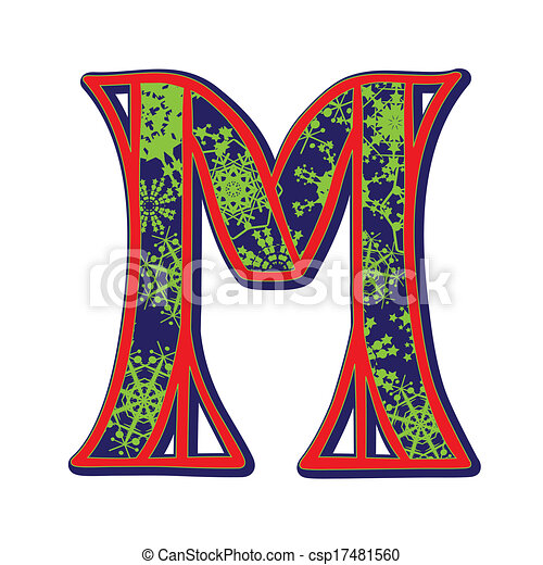 Winter Letter M Hand Drawn Illustration Of The Capital