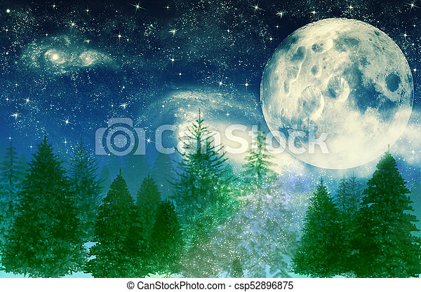Winter magic forest at night background with trees over moon - csp52896875