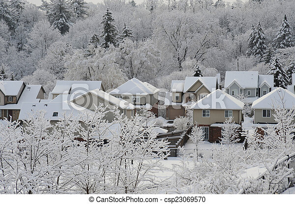 Winter morning in the small town - csp23069570