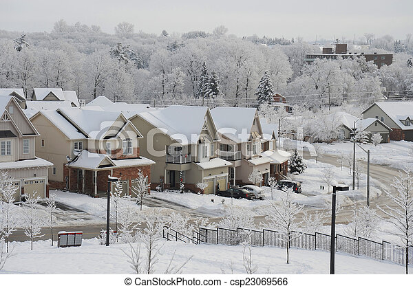 Winter morning in the small town - csp23069566