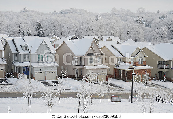 Winter morning in the small town - csp23069568
