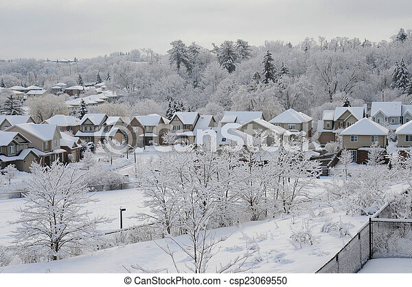 Winter morning in the small town - csp23069550