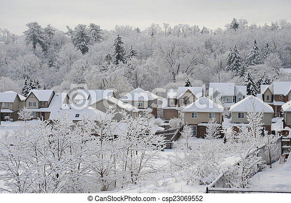 Winter morning in the small town - csp23069552