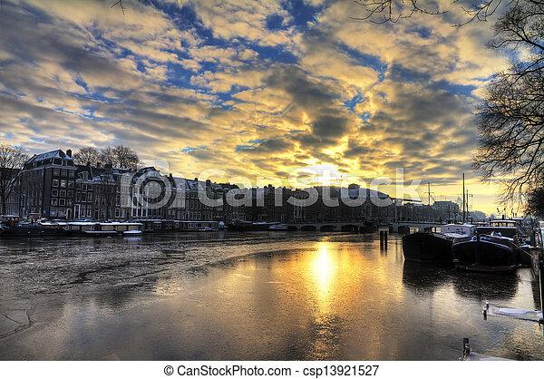 Winter morning river Amstel - csp13921527