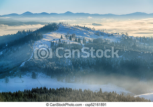 Winter morning scene in the mountains - csp52161891