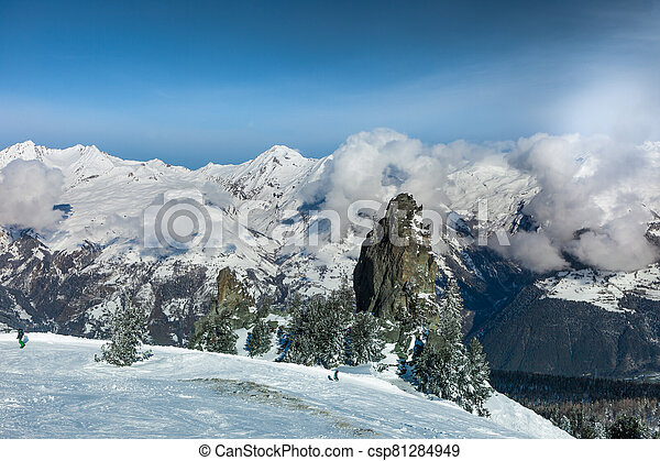 Winter mountain landscape in the morning - csp81284949