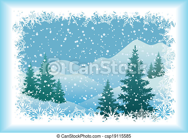 Winter mountain landscape with fir trees - csp19115585