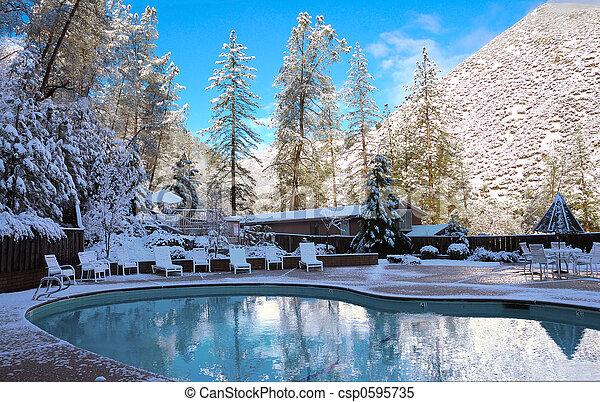Winter Mountain Pool - csp0595735