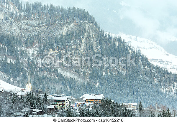 Winter mountain village (Austria, Tirol). - csp16452216