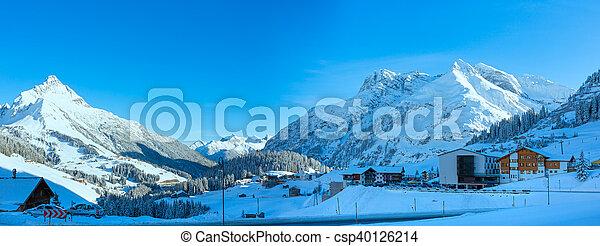 Winter mountain village (Austria, Tirol, Haselgehr) - csp40126214