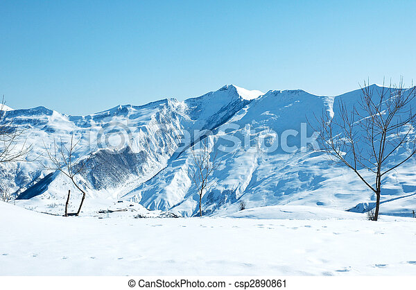 Winter mountains on a bright sunny day - csp2890861