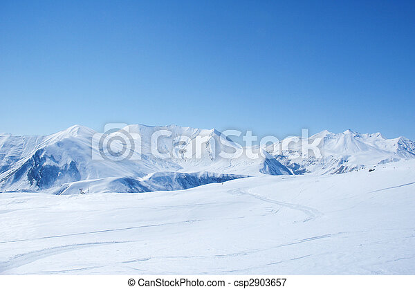 Winter mountains on a bright sunny day - csp2903657