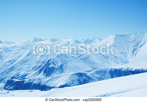 Winter mountains on a bright sunny day - csp3350565