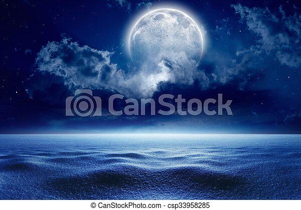 Winter night, full moon - csp33958285